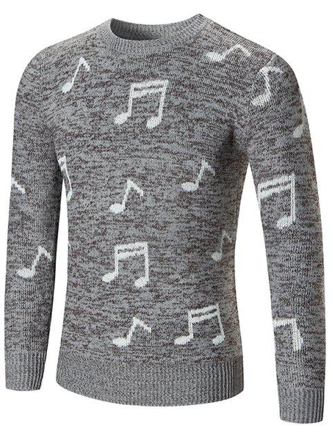 Sweat à Capuche Pull-over Notes de Musique Imprimée - Gris Clair S