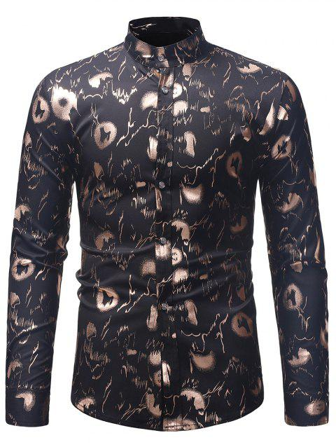 Abstract Golden Print Slim Shirt - BLACK XL