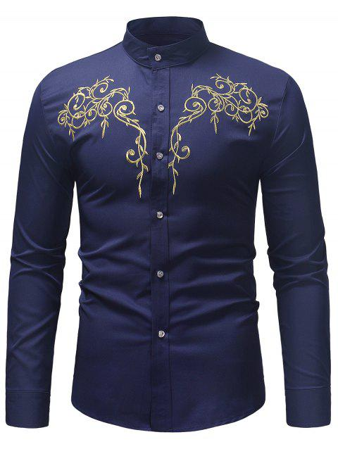 Stand Collar Twig Pattern Embroidery Shirt - LAPIS BLUE XL