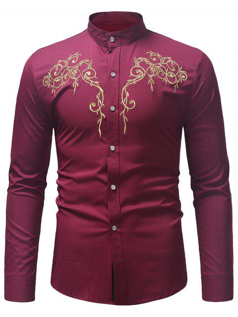 Stand Collar Twig Pattern Embroidery Shirt - RED WINE XL