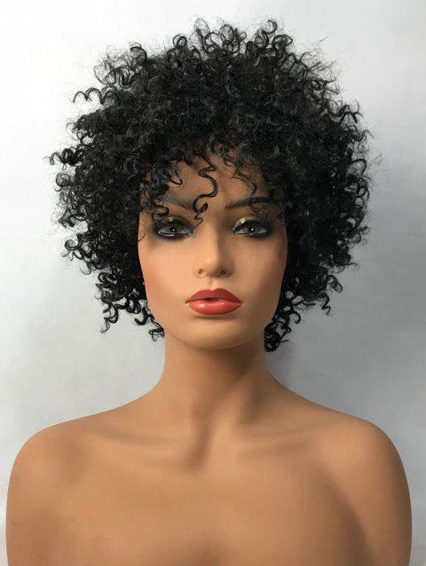 Inclined Bang Short Shaggy Afro Curly Synthetic Wig - BLACK