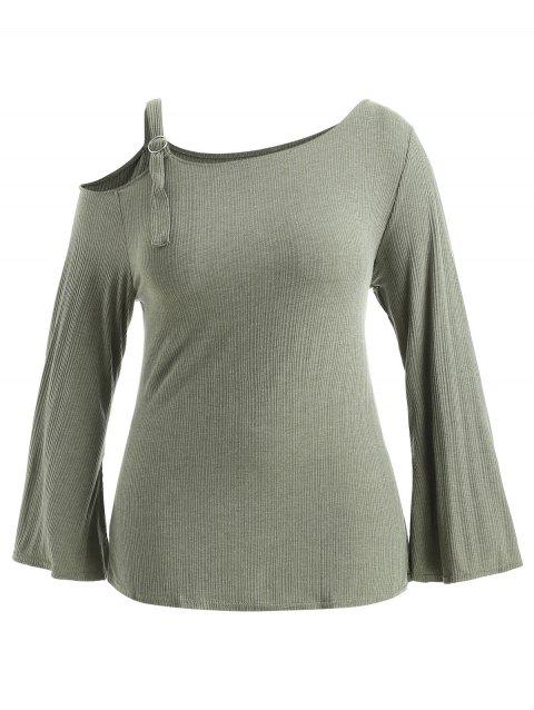 Plus Size Adjustable Shoulder Knitwear - GREEN 1X
