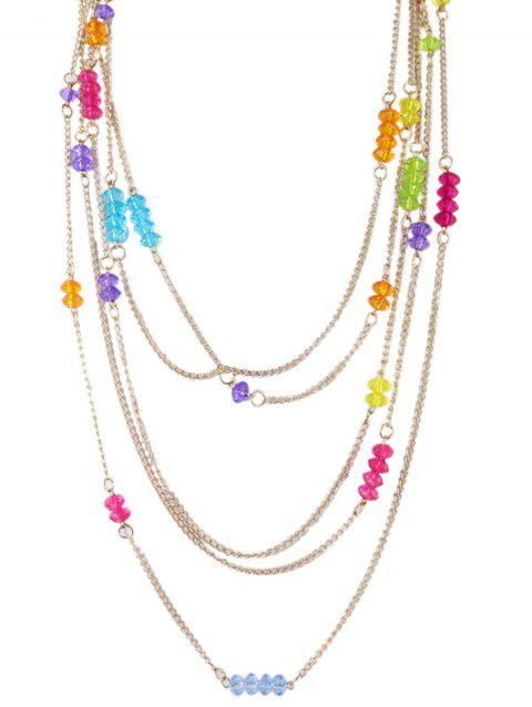 Collier chaîne en perles de cristal artificiel - multicolor