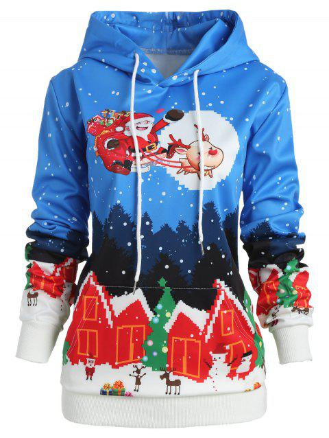Plus Size Santa Claus Christmas Hoodie - BLUE L