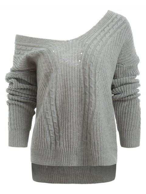 Low Cut V Neck Cable Knit Sweater - LIGHT GRAY ONE SIZE