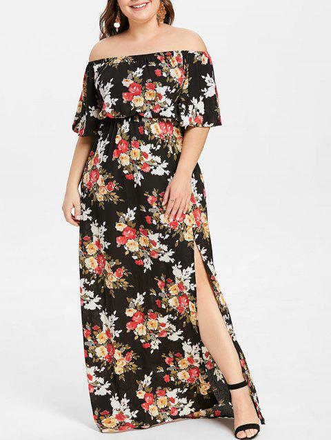 07ae07eda1e LIMITED OFFER  2019 Plus Size Floral Print High Slit Maxi Dress In ...