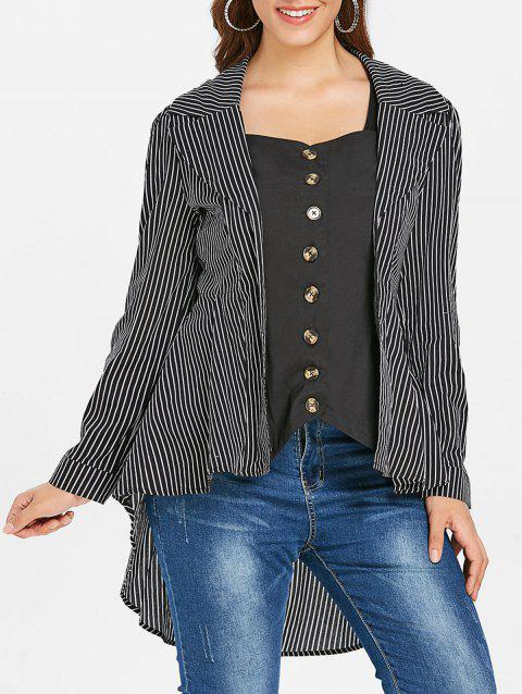Asymmetric Plus Size Stripe Shirt - BLACK 1X