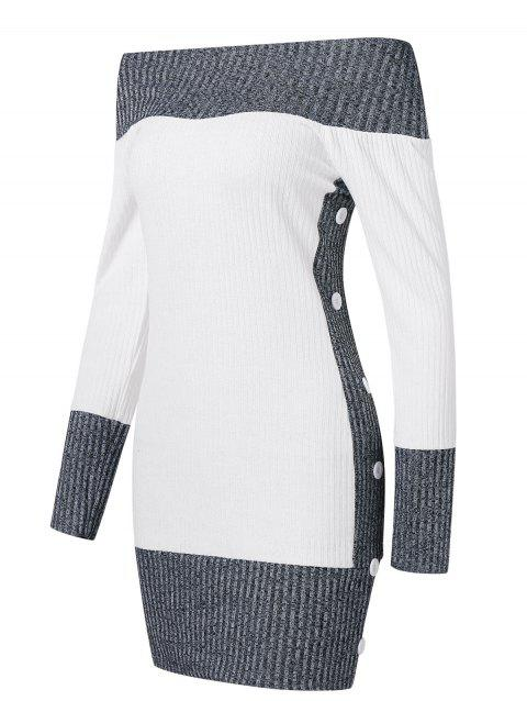 Hit Color Tunic Knitted Dress - WHITE L
