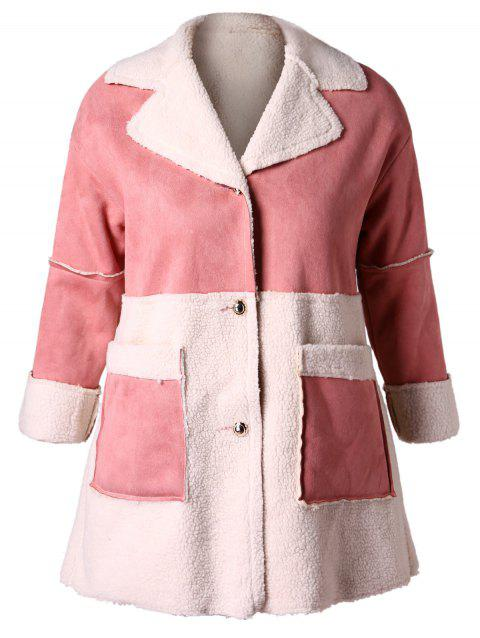 Plus Size Suede Spliced Faux Lamb Wool Coat - LIGHT PINK 3X