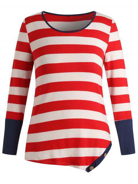Plus Size Striped Buttons Long Sleeves T Shirt