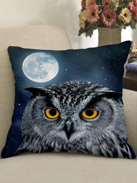 Moon Night Owl Print Sofa Linen Pillowcase - multicolor W18 X L18 INCH