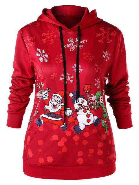 Plus Size Christmas Kangaroo Pocket Pullover Hoodie - RED L