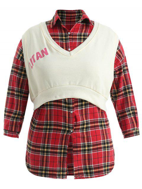 Plus Size Sleeveless Crop Top with Tartan Shirt - multicolor ONE SIZE