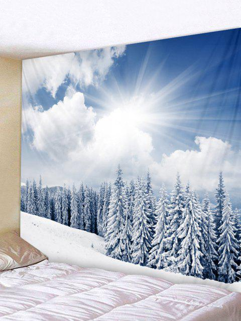 Snow Forest Print Tapestry Wall Hanging Decoration - WHITE W91 X L71 INCH