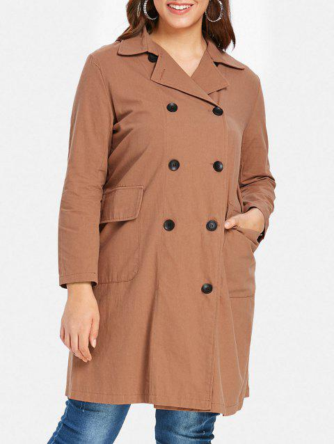 Plus Size Double Breasted Longline Coat - LIGHT BROWN 1X