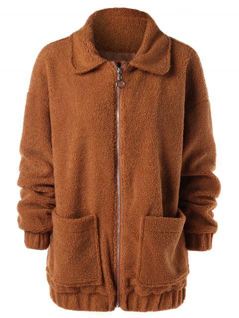 Drop Shoulder Zipper Faux Fur Coat