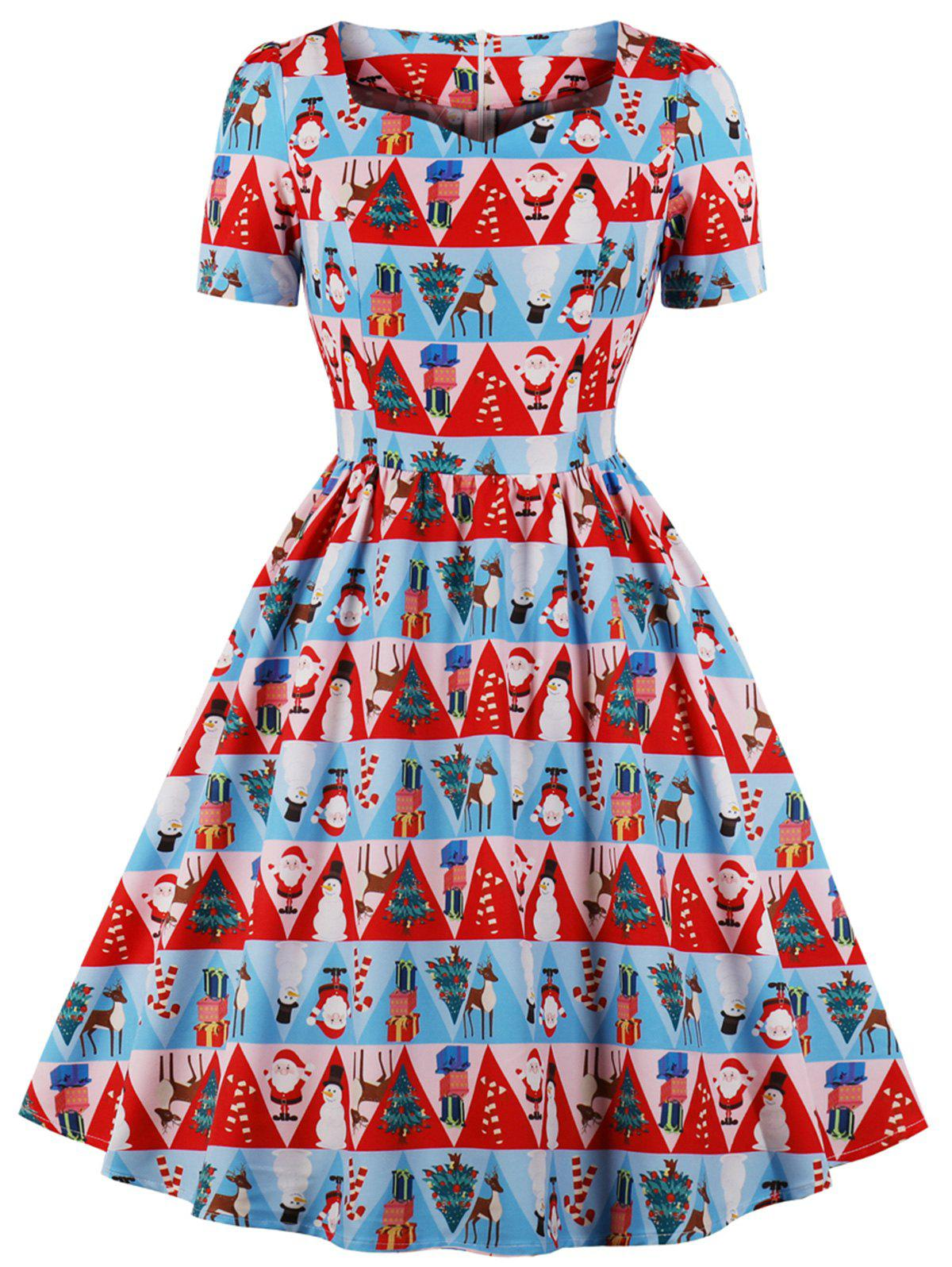 Christmas Retro Printed Pin Up Dress - LAVA RED M
