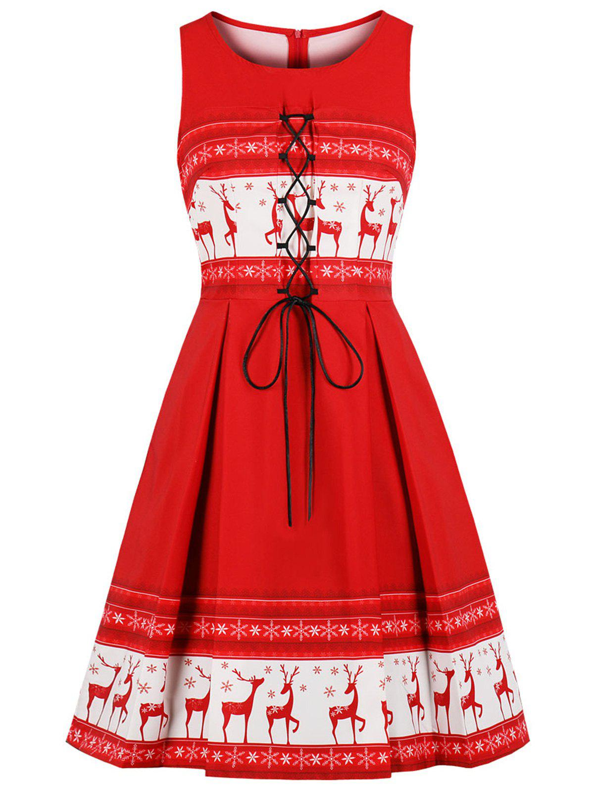 Christmas Elk Print Lace Up Vintage Pin Up Dress - LAVA RED XL