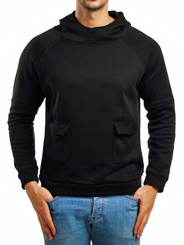 Raglan Sleeve Whole Colored Two Pockets Hoodie - BLACK XS