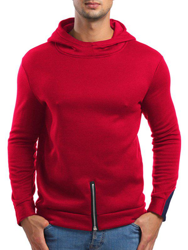 Zipper Bottom Solid Color Hoodie - RED XS