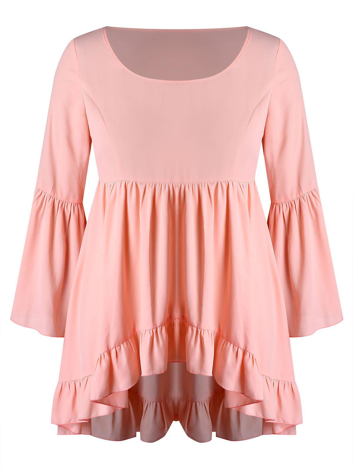 Plus Size Flare Sleeves Asymmetric Flounce Blouse - ORANGE PINK 2X