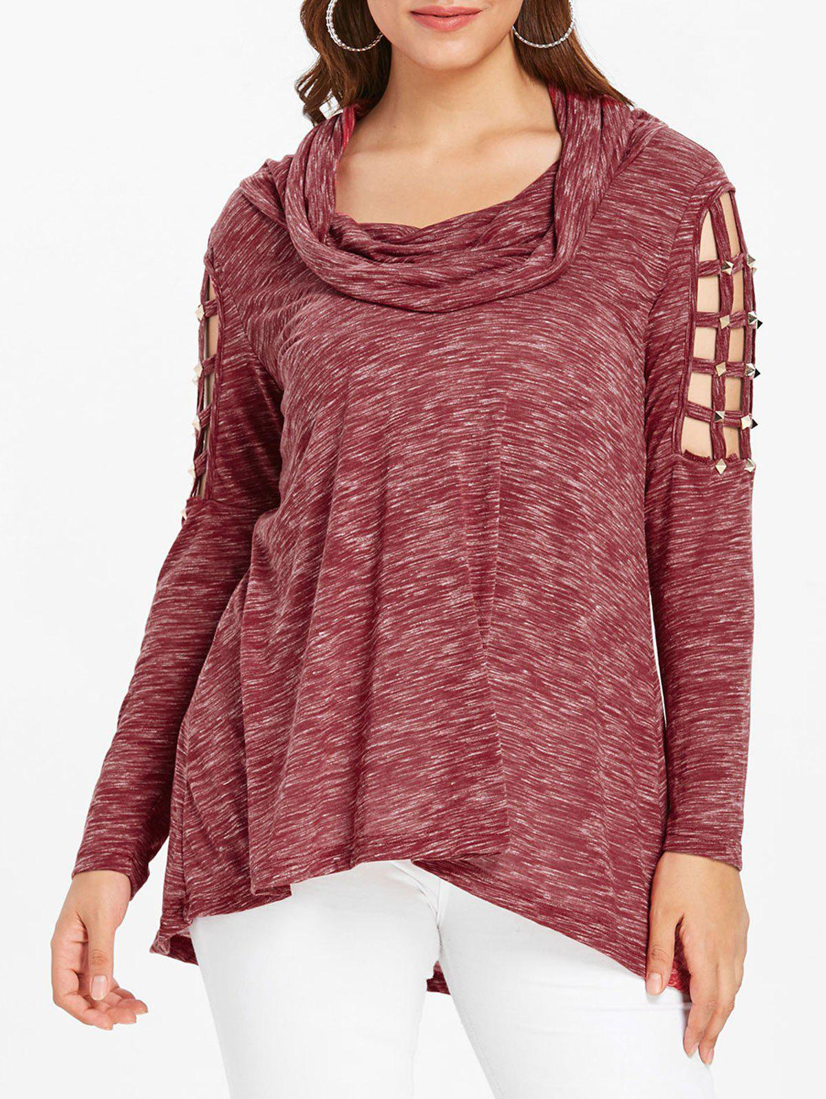 Plus Size Lattice Cutout Cowl Neck T-shirt - RED 1X
