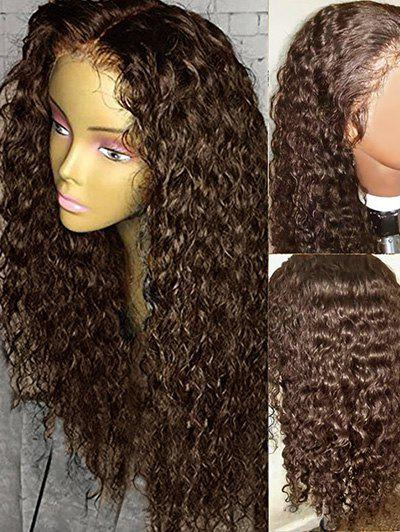 Long Side Bang Water Wave Lace Front Human Hair Wig - BROWN 18INCH