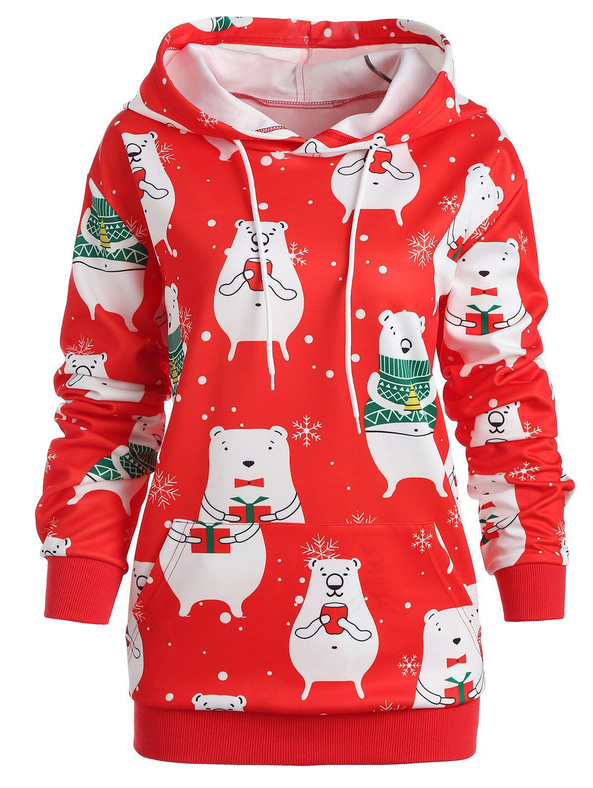 Plus Size Christmas Graphic Hoodie - RED L