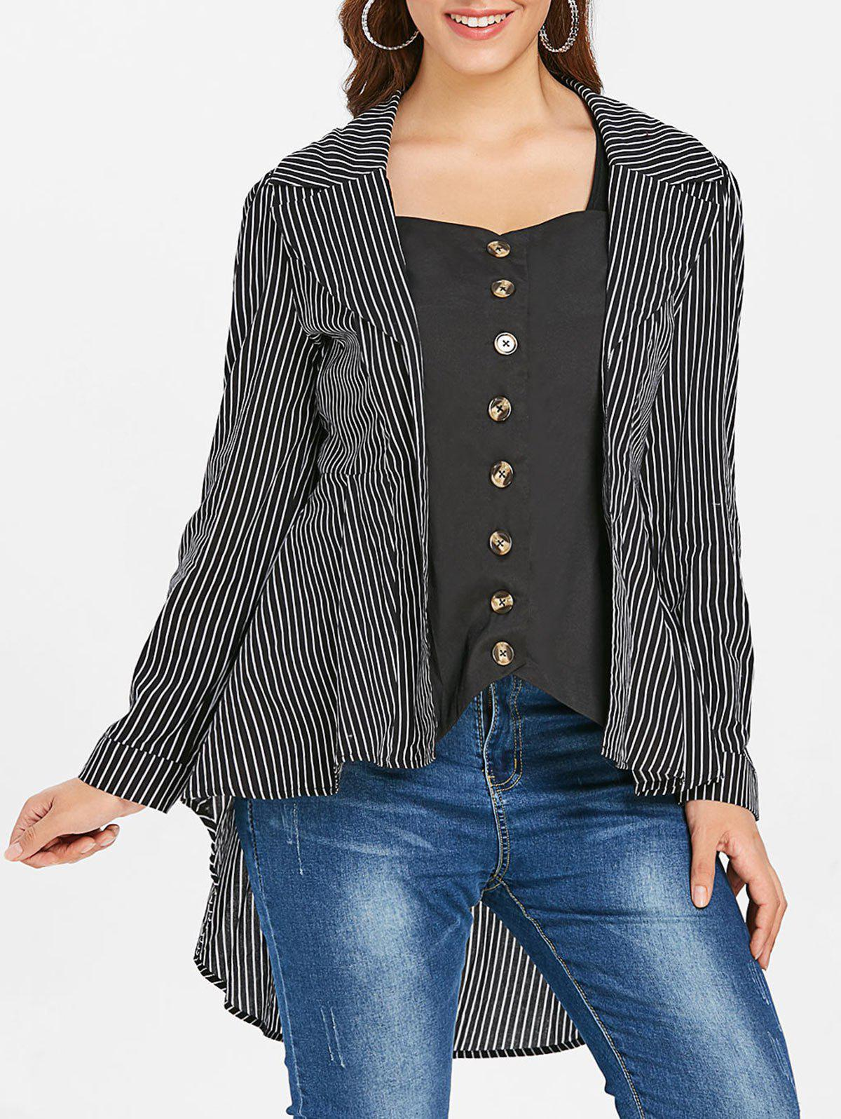 Asymmetric Plus Size Stripe Shirt - BLACK L