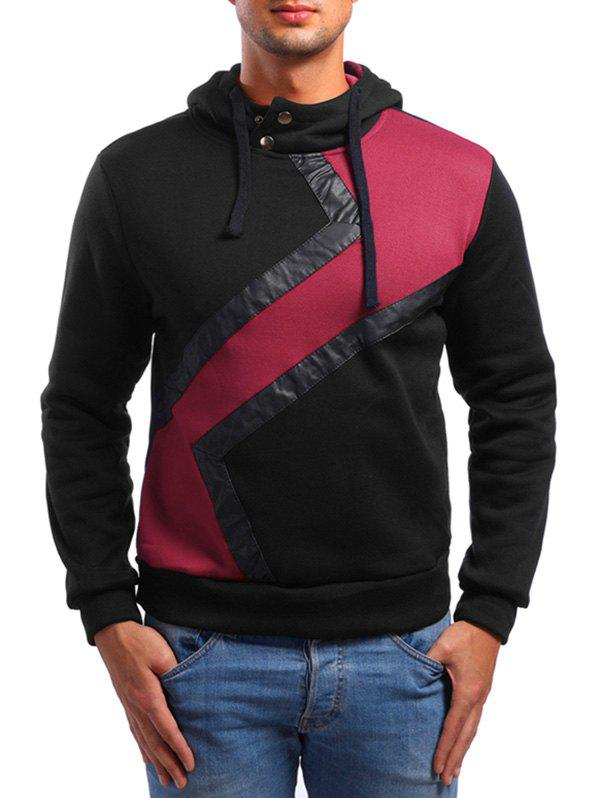 Faux Leather Patchwork Casual Hoodie - BLACK S