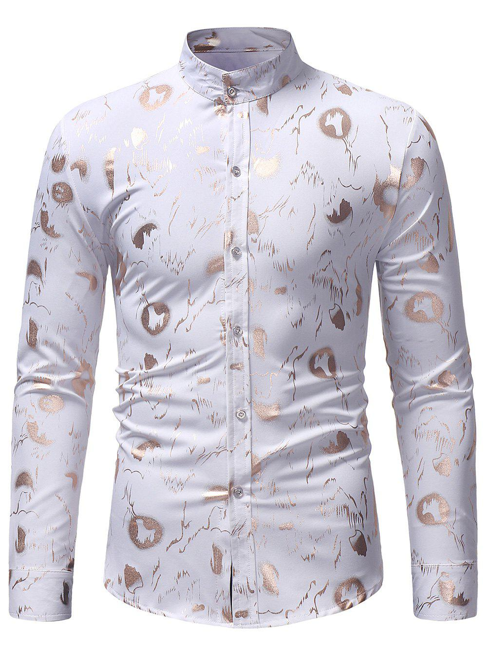 Abstract Golden Print Slim Shirt - WHITE XL