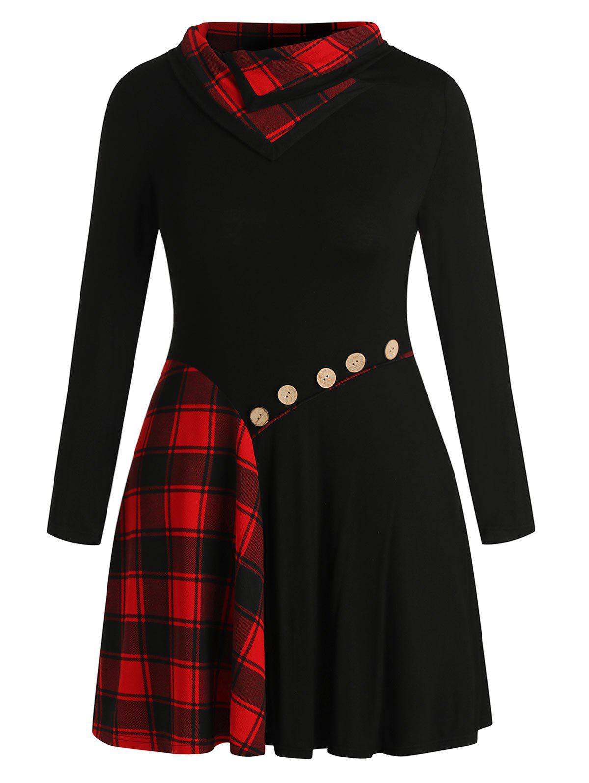 Plus Size Buttons Checked Knee Length Dress - BLACK L