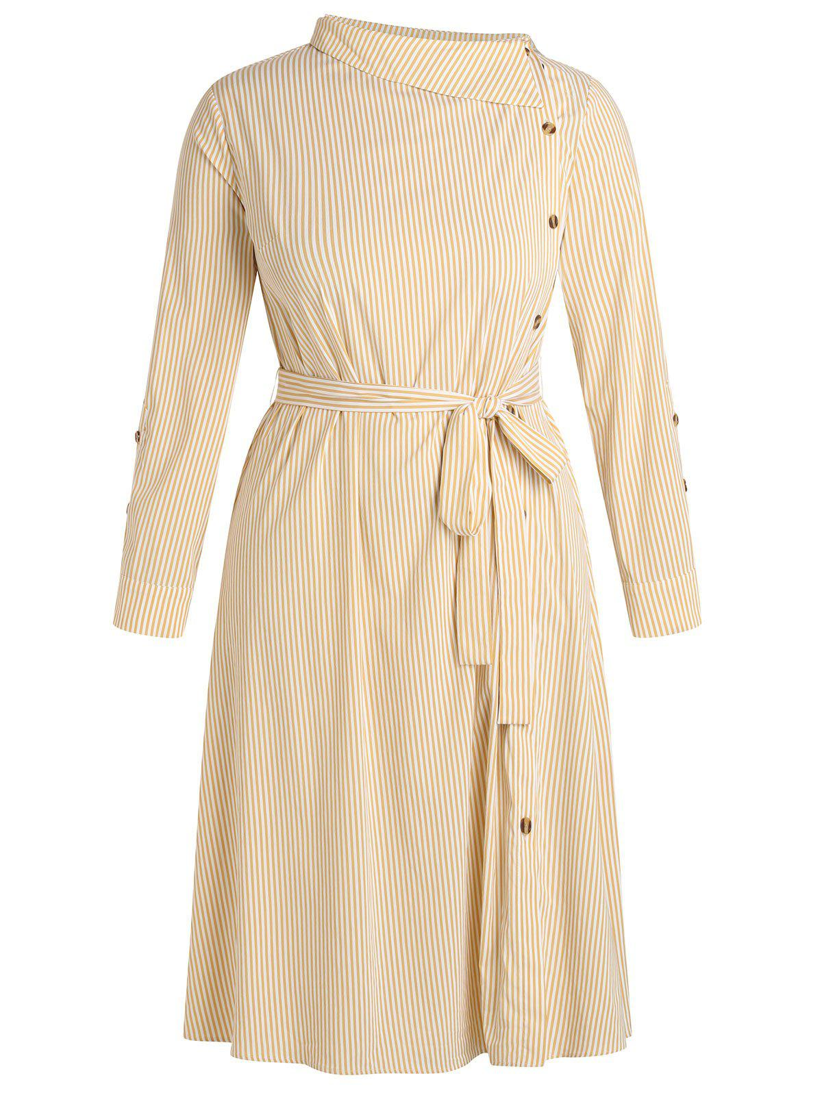 Plus Size Belted Long Sleeve Striped Dress - PEACH 1X