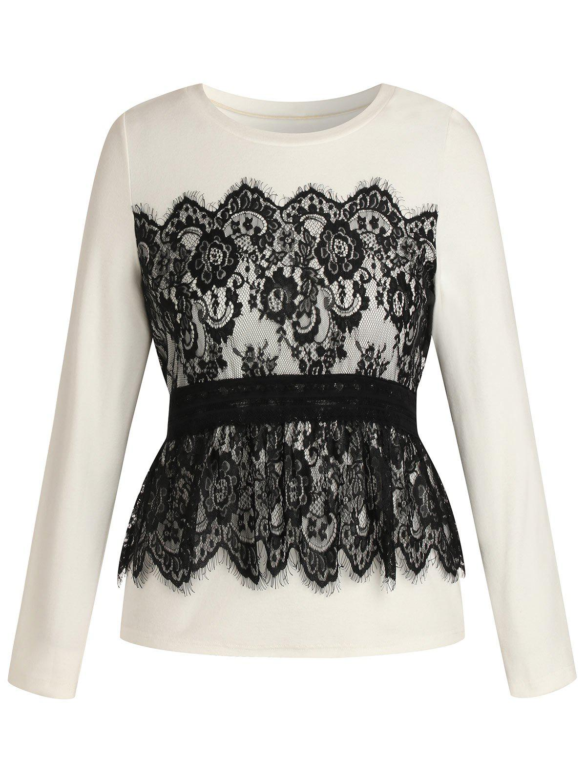 Plus Size Lace Splicing Long Sleeves T Shirt - WHITE 5X