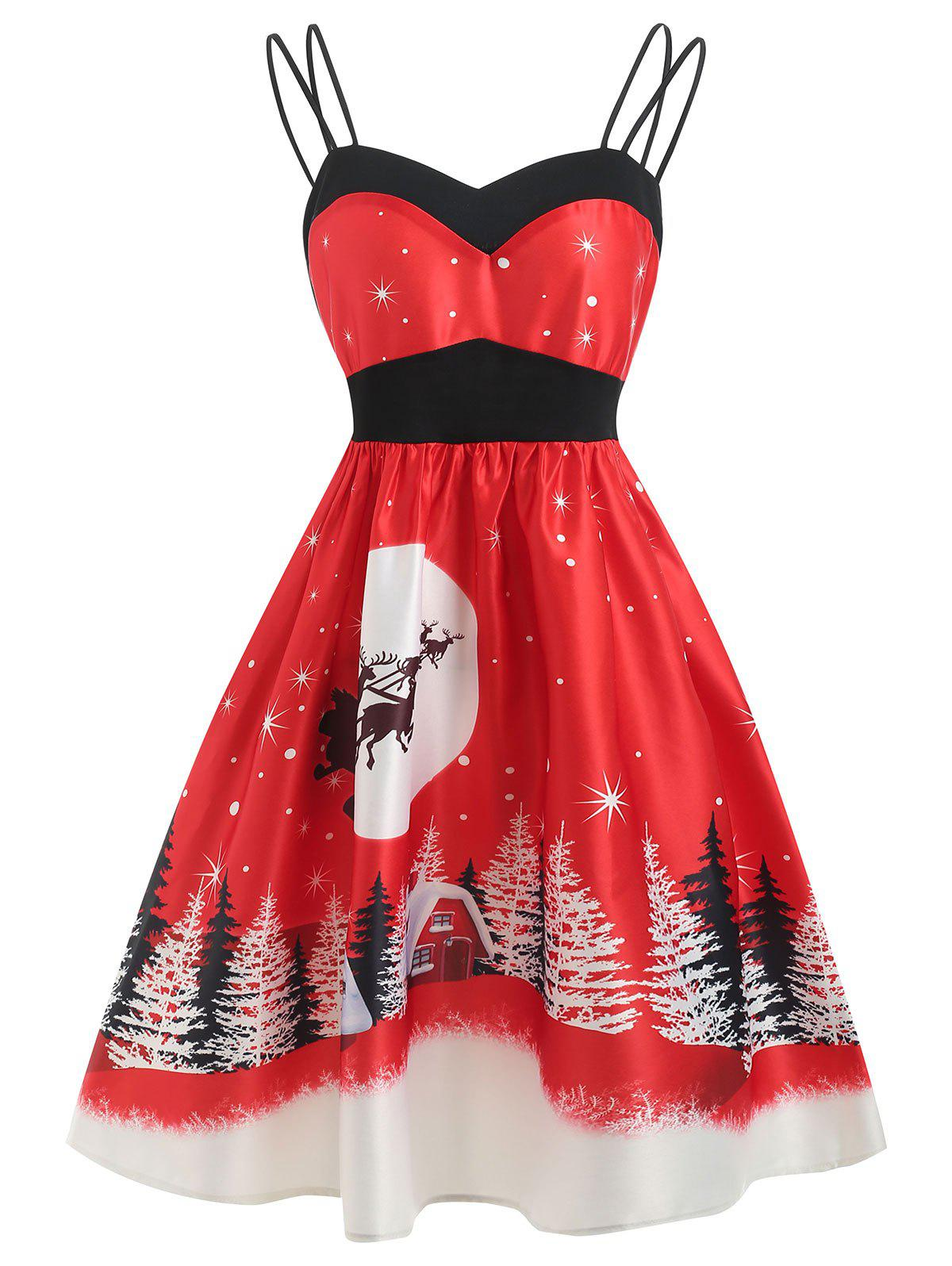 Christmas A Line Vintage Print Dress - RUBY RED M