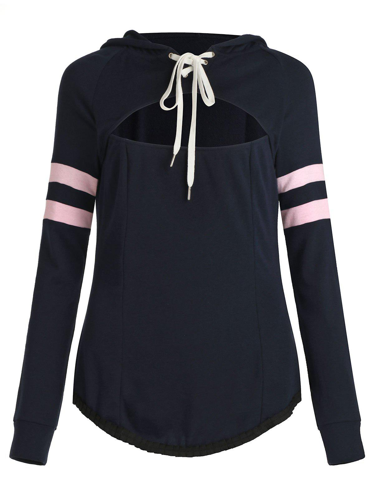 Lace Up Stripe Contrast Hollow Out Hoodie