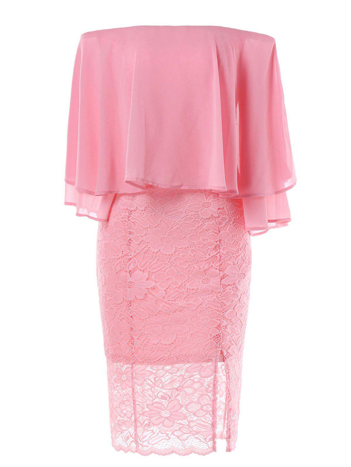 Splicing Off Shoulder Bodycon Knee Length Lace Capelet Dress - LIGHT PINK M