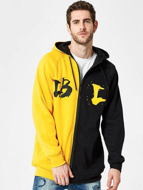 Two Tone Letter Print Full Zipper Fleece Hoodie - YELLOW L