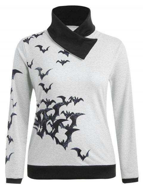 Sweat-shirt d'Halloween en Blocs de Couleurs de Grande Taille - Gris Clair 2X