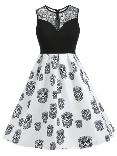 Plus Size Sleeveless Skull Vintage Dress - BLACK 1X