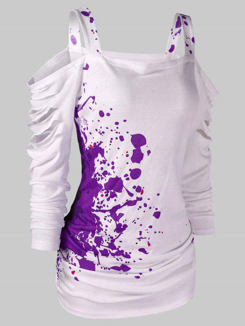 Cut Out Blood Splatter Open Shoulder T-shirt - VIOLET L