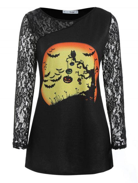 Plus Size Halloween Lace Panel Tunic T-shirt - BLACK 2X