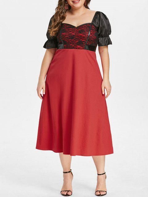 Plus Size Lace Panel Sweetheart Dress - RED 2X