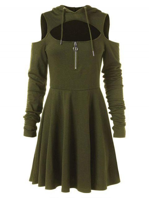Cold Shoulder Long Sleeve Hooded Dress - ARMY GREEN L