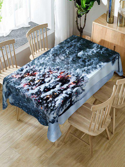 Christmas Tree Snow Print Fabric Waterproof Table Cloth - multicolor W54 X L72 INCH