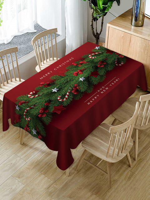 Merry Christmas Candy Cane Fabric Waterproof Table Cloth - multicolor W54 X L54 INCH