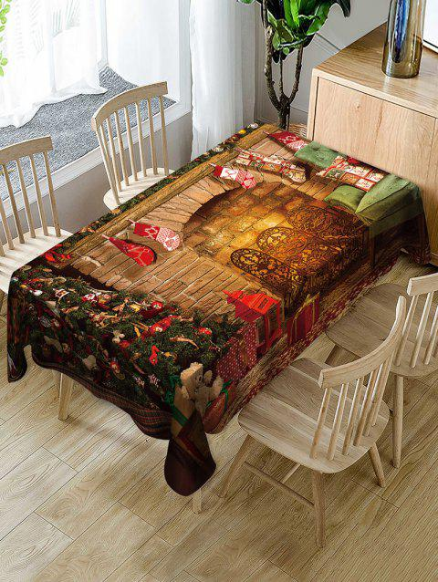 Christmas Stocking Fireplace Print Fabric Waterproof Table Cloth - multicolor W54 X L72 INCH