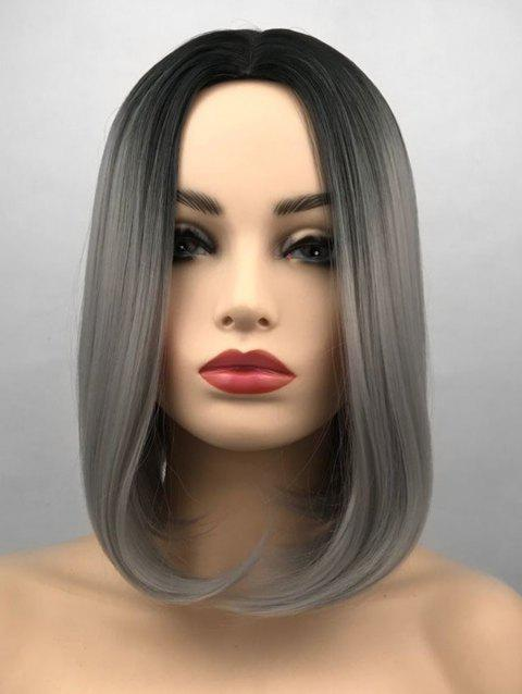 Middle Part Ombre Short Straight Bob Synthetic Wig - multicolor D