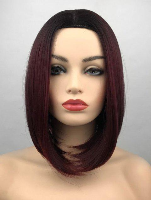 Middle Part Ombre Short Straight Bob Synthetic Wig - multicolor B