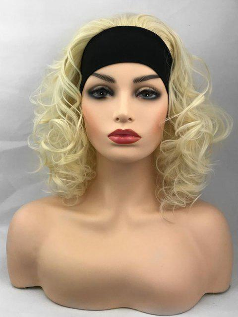 Medium Curly Party Synthetic Wig with Hair Band - BLONDE